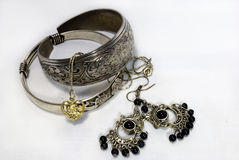 Silver Jewelry. A group of silver jewelry Royalty Free Stock Image
