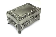 Silver jewelry box on white Stock Photos