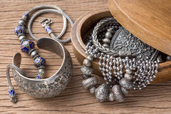 Silver jewelry Royalty Free Stock Photography