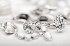 Silver jewelry. A collection of silver jewelery Stock Photo