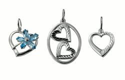 Silver jewelry hearts Stock Photos
