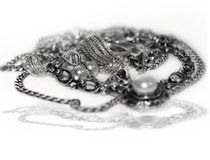 Silver jewelry isolated on white Stock Image