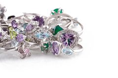 Silver jewelry Royalty Free Stock Photo