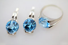 Silver Jewelry With Blue Topaz Stock Images