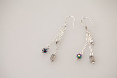 Silver jewels with colorful precious stones Stock Image