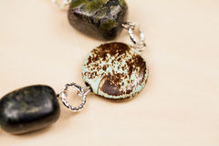 Silver jewels with precious stones Royalty Free Stock Photo