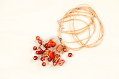 Silver jewels with precious stones Stock Photos