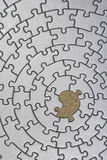 Silver jigsaw with one missing piece. Pieces fitting together in form of a spiral - adobe RGB Stock Images