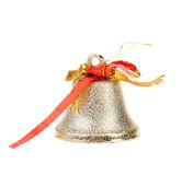 Silver jingle bell. Royalty Free Stock Images