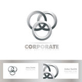 Silver joined circle logo. Vector template of silver joined circle logo with business card Royalty Free Stock Images