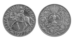 1977 Silver Jubilee Crown coin. Horse and coronation regalia. Stock Images
