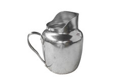 Silver jug with ancient Thai texture on white Stock Image