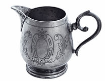 Silver Jug of cream on white background Royalty Free Stock Images