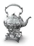 Silver kettle for tea and coffee Royalty Free Stock Photo