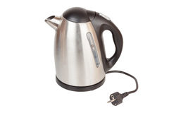Silver kettle. On white background stock images
