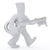 Silver key. 3d character wolk and keep in hands big silver key Stock Illustration