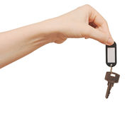 Silver key with blank tag Royalty Free Stock Images