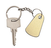 Silver key with blank tag. Isolated on white space for your text Stock Photo