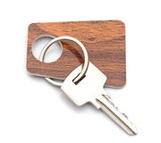 Silver key with blank tag. Space for your text Royalty Free Stock Photos