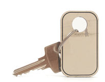 Silver key with blank tag Royalty Free Stock Photography