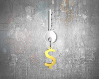 Silver key with golden dollar sign shape keyring Stock Photos