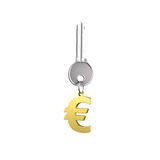 Silver key with golden euro sign shape keyring Royalty Free Stock Photography