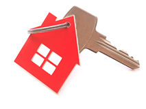 Silver key with house figure Stock Photo