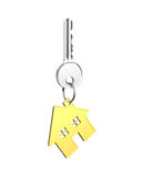 Silver key with house shape key ring Stock Photo