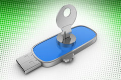 Silver Key Pen drive In Halftone Background Stock Photos