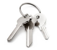 Silver Key Ring on White. Silver keys and ring on White Background Stock Photos
