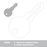 Silver Key to be colored. Vector trace game. Stock Photography