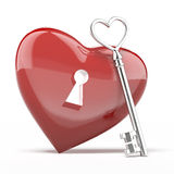 Silver key to the heart Royalty Free Stock Photos