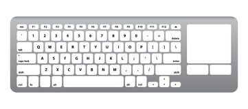 While Silver Keyboard with touch QWERTY #1 -  Vector Illustration Stock Photography