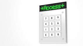 Silver keypad with led display showing access Stock Images