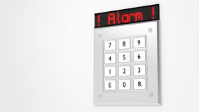 Silver keypad with led display showing alarm Royalty Free Stock Photos