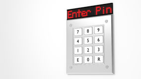 Silver keypad with led display showing enter pin. Silver number keypad on a wall with a red led display on top showing the words enter pin 3D illustration Royalty Free Stock Photos