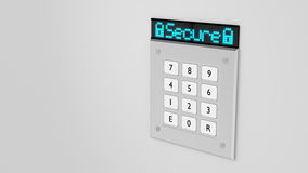 Silver keypad with led display showing secure Stock Photo