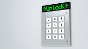 Silver keypad with led display showing unlock Stock Image