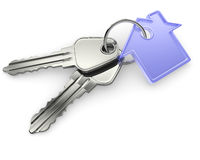 Silver keys with house figure Stock Images