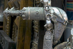 Silver Khanjar. An antique khanjar (traditional dagger) in Muscat, Oman Royalty Free Stock Image