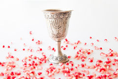 Silver Kiddush cup and Pomegranate Stock Images