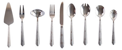 Silver kitchen table set spoon fork knife isolated Royalty Free Stock Photography