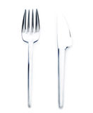 Silver knife and fork Royalty Free Stock Photography