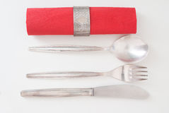 Silver Knife,Fork and Spoon Royalty Free Stock Photos