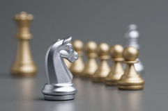 Silver Knight chess Stock Photography