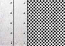 Abstract modern grey perforated metal plate with polished Stock Photos