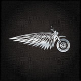 Silver label with wheel,bike and wings Royalty Free Stock Photo