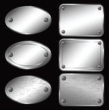 Silver Labels - Nameplates Stock Photo