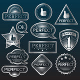 Silver Labels 'Perfect' Royalty Free Stock Photography