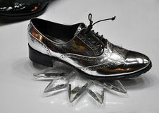 Silver ladies shoes Stock Images